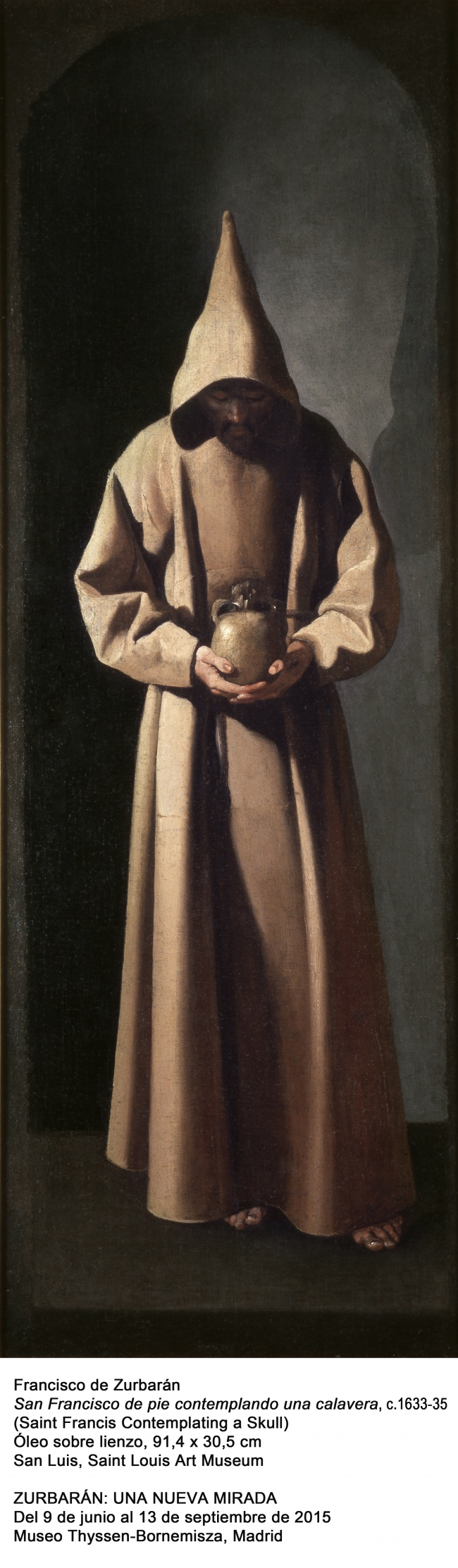 Francisco de Zurbarán, Spanish, 1598–1664; St. Francis Contemplating a Skull, c.1635; oil on canvas; 36 x 12 in. (91.4 x 30.5 cm); Saint Louis Art Museum, Museum Purchase 47:1941